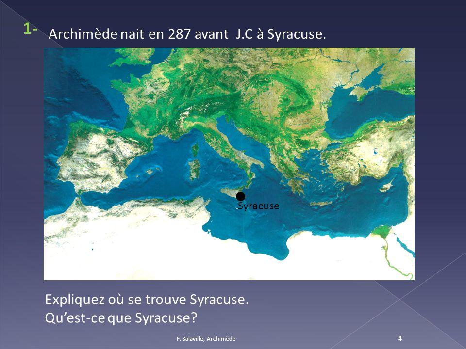 4 Syracuse Archimède nait en 287 avant J.C à Syracuse. Expliquez où se trouve Syracuse. Quest-ce que Syracuse? 1-