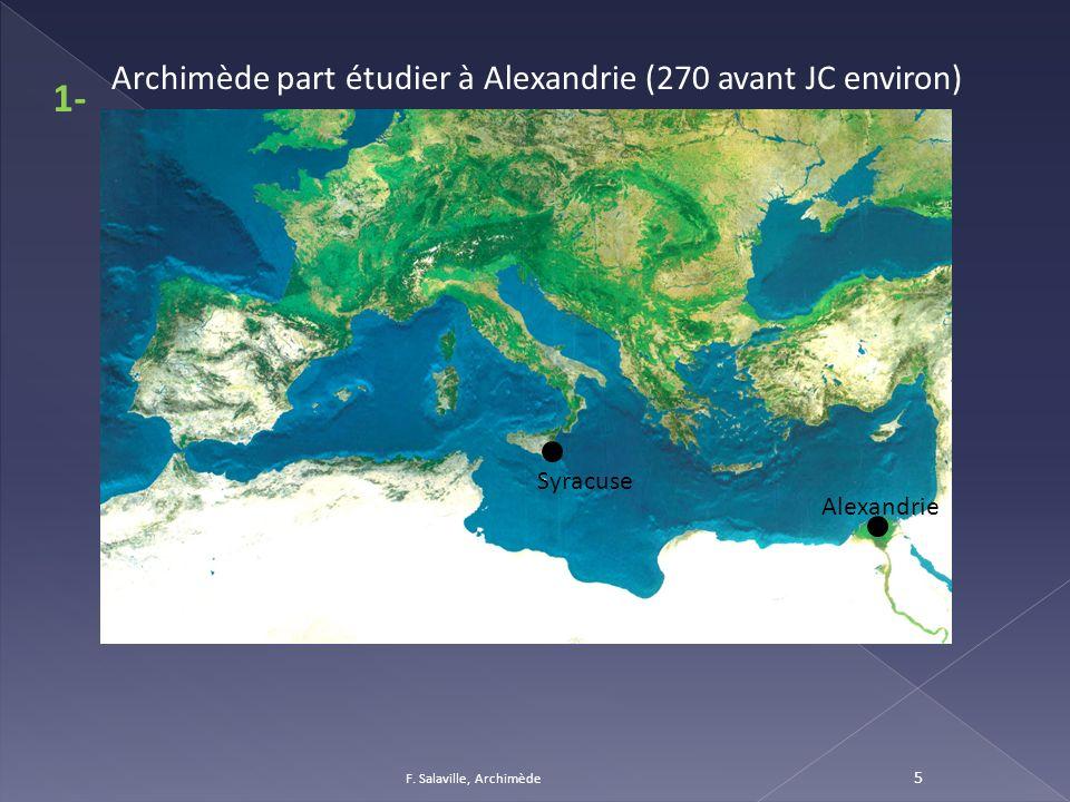 F. Salaville, Archimède 5 Syracuse Archimède part étudier à Alexandrie (270 avant JC environ) Alexandrie 1-