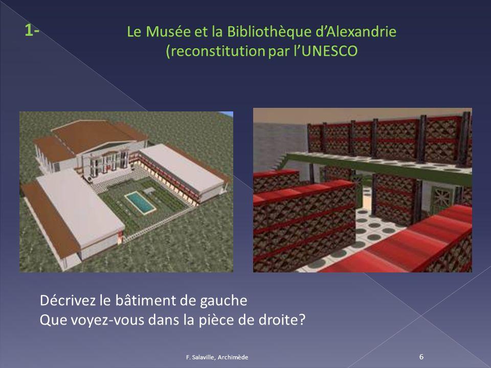 F. Salaville, Archimède 6 1- Décrivez le bâtiment de gauche Que voyez-vous dans la pièce de droite?