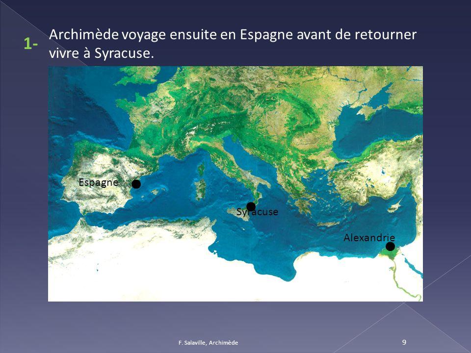 9 Syracuse Archimède voyage ensuite en Espagne avant de retourner vivre à Syracuse. Alexandrie 1- Espagne
