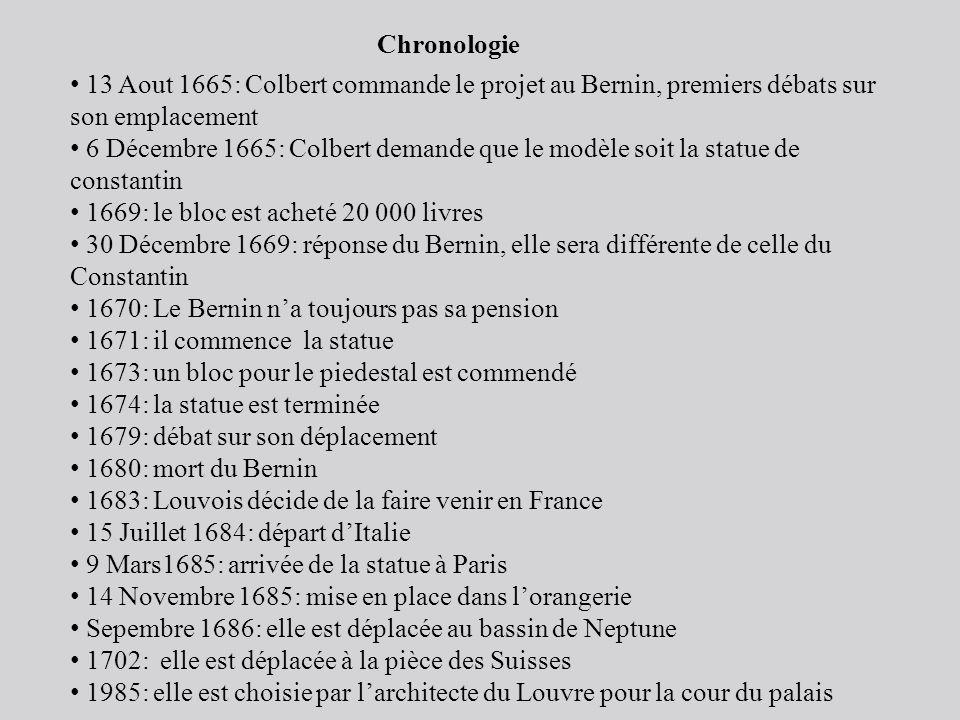 Chronologie 13 Aout 1665: Colbert commande le projet au Bernin, premiers débats sur son emplacement 6 Décembre 1665: Colbert demande que le modèle soi