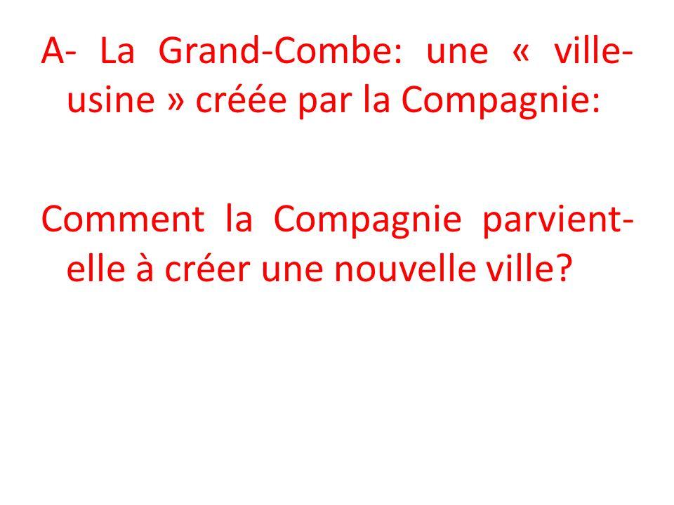 A- La Grand-Combe: une « ville- usine » créée par la Compagnie: Comment la Compagnie parvient- elle à créer une nouvelle ville
