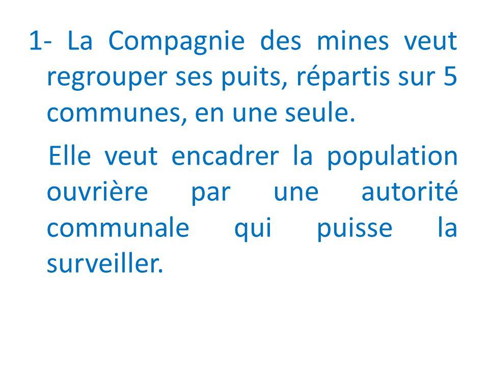 1- La Compagnie des mines veut regrouper ses puits, répartis sur 5 communes, en une seule.