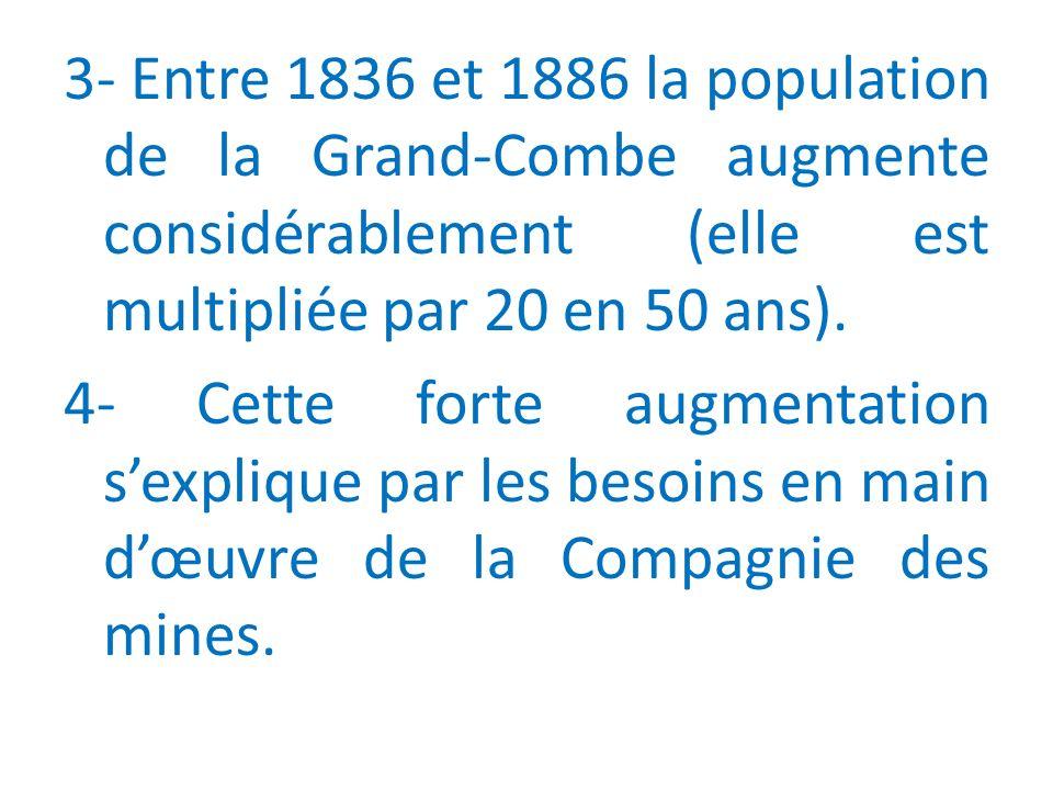 3- Entre 1836 et 1886 la population de la Grand-Combe augmente considérablement (elle est multipliée par 20 en 50 ans).