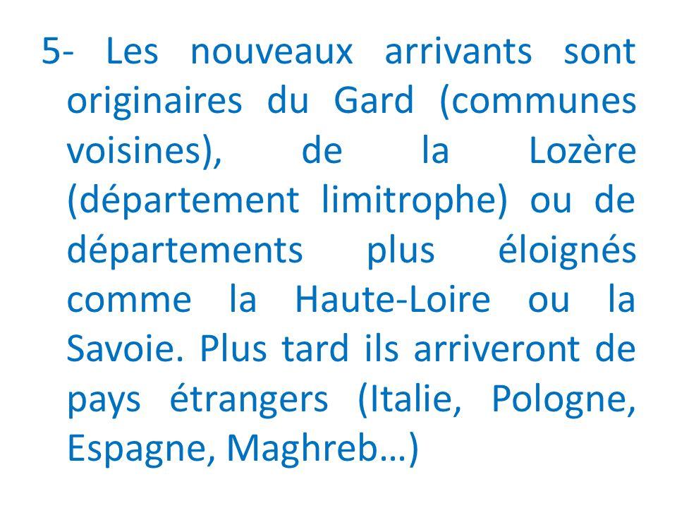 5- Les nouveaux arrivants sont originaires du Gard (communes voisines), de la Lozère (département limitrophe) ou de départements plus éloignés comme la Haute-Loire ou la Savoie.