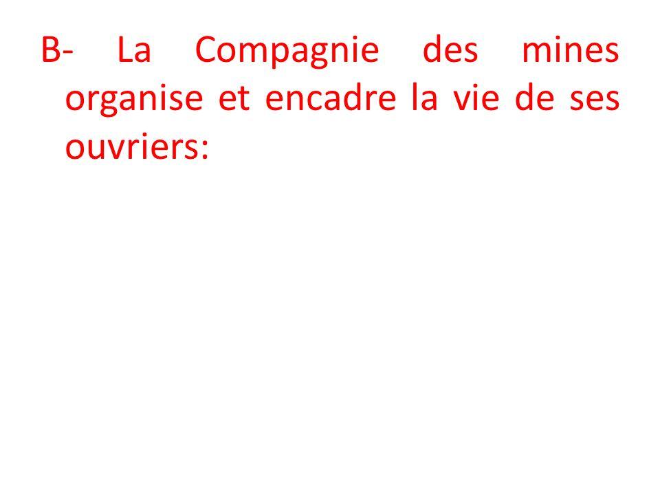 B- La Compagnie des mines organise et encadre la vie de ses ouvriers: