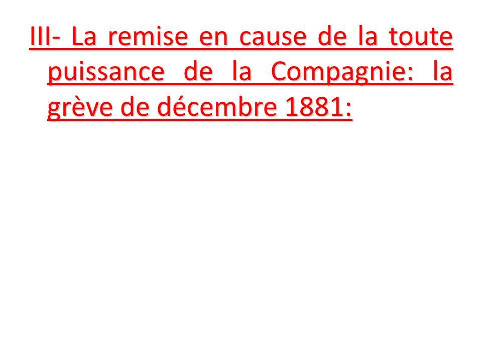 III- La remise en cause de la toute puissance de la Compagnie: la grève de décembre 1881:
