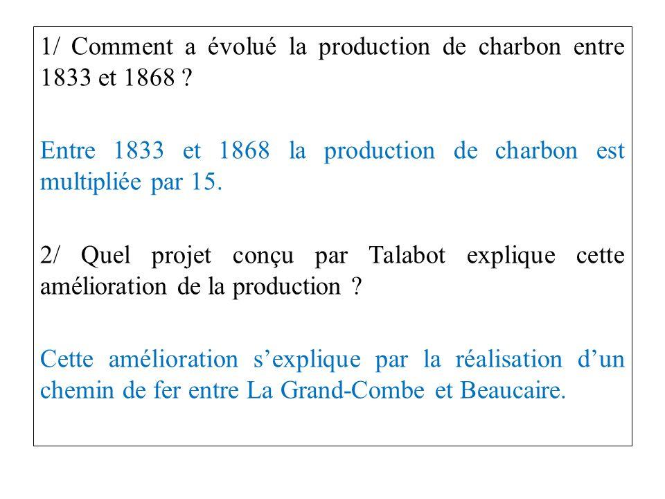 1/ Comment a évolué la production de charbon entre 1833 et 1868 .