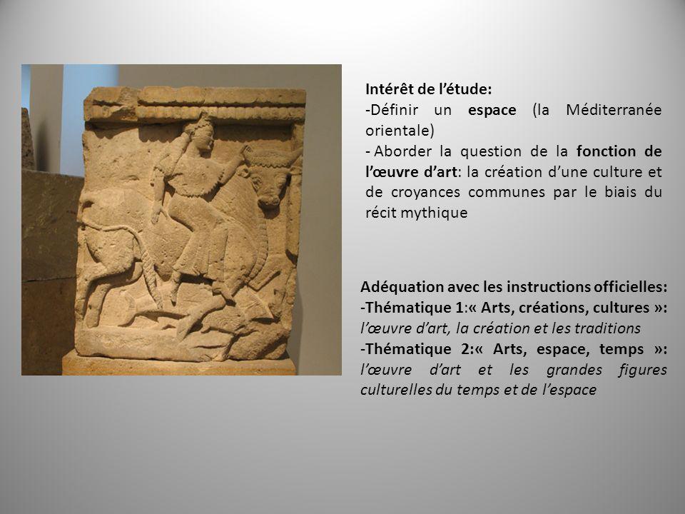 Intérêt de létude: -Définir un espace (la Méditerranée orientale) - Aborder la question de la fonction de lœuvre dart: la création dune culture et de