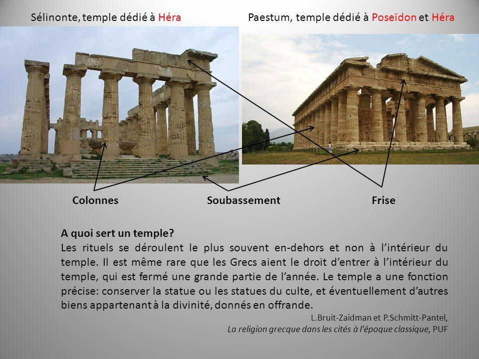 Sélinonte, temple dédié à HéraPaestum, temple dédié à Poseïdon et Héra ColonnesSoubassementFrise A quoi sert un temple? Les rituels se déroulent le pl
