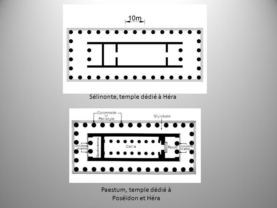 Sélinonte, temple dédié à Héra Paestum, temple dédié à Poséïdon et Héra