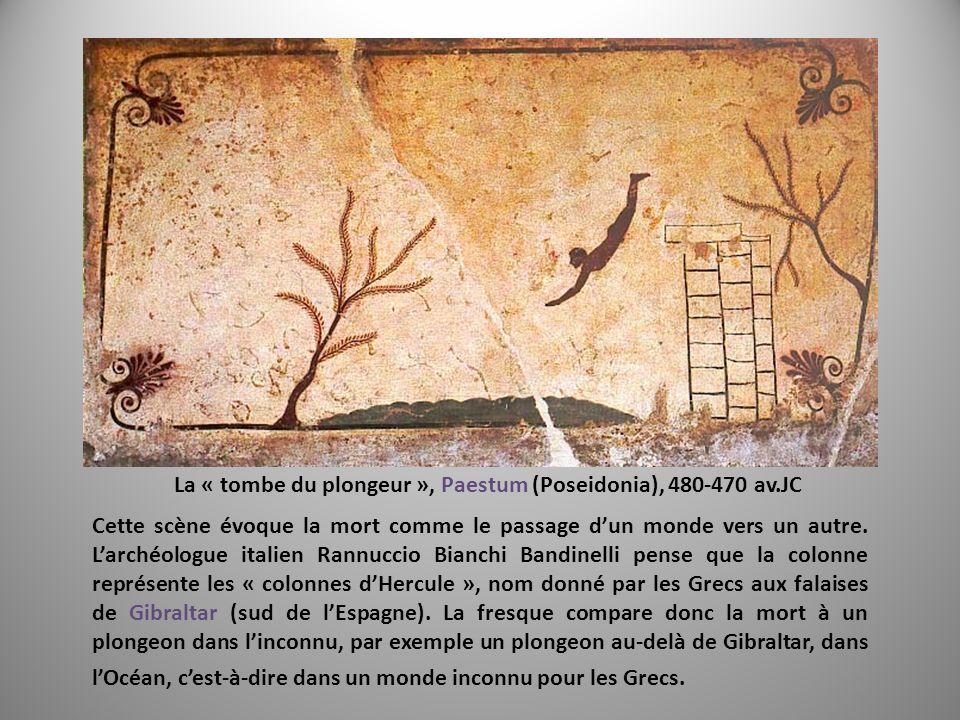 La « tombe du plongeur », Paestum (Poseidonia), 480-470 av.JC Cette scène évoque la mort comme le passage dun monde vers un autre. Larchéologue italie