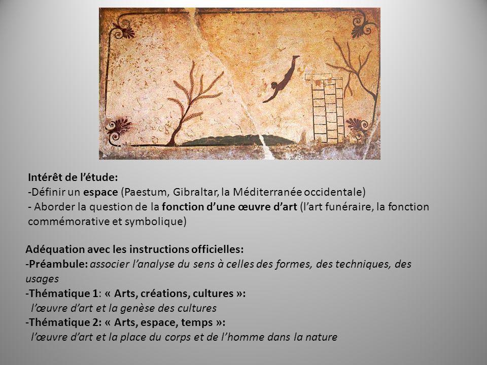 Intérêt de létude: -Définir un espace (Paestum, Gibraltar, la Méditerranée occidentale) - Aborder la question de la fonction dune œuvre dart (lart fun