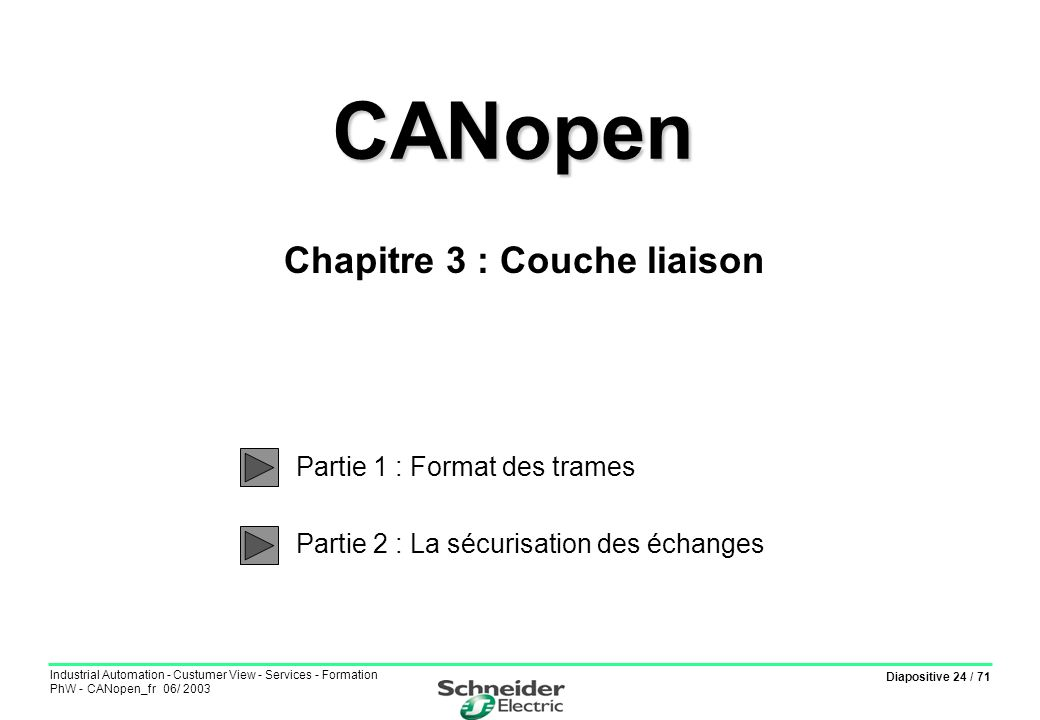 Diapositive 24 / 71 Industrial Automation - Custumer View - Services - Formation PhW - CANopen_fr 06/ 2003 CANopen CANopen Partie 1 : Format des trame