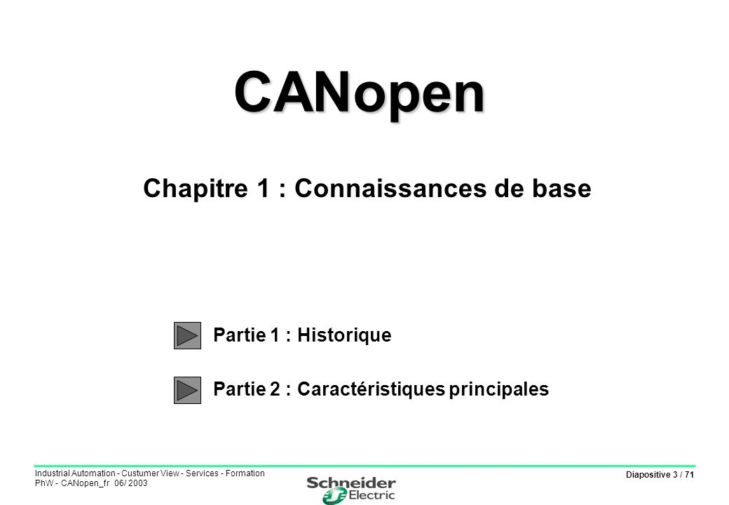 Diapositive 54 / 71 Industrial Automation - Custumer View - Services - Formation PhW - CANopen_fr 06/ 2003 Objets RxPDO Communication parameter Chapitre 4 : Couche application - Partie 2 : Objets et services CANopen PDO en réception : Index 0x1400 à 0x15FF