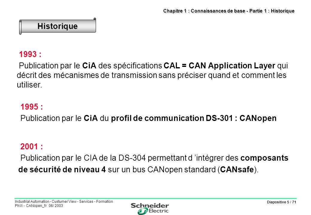 Diapositive 5 / 71 Industrial Automation - Custumer View - Services - Formation PhW - CANopen_fr 06/ 2003 Chapitre 1 : Connaissances de base - Partie