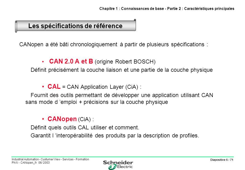 Diapositive 6 / 71 Industrial Automation - Custumer View - Services - Formation PhW - CANopen_fr 06/ 2003 CANopen a été bâti chronologiquement à parti
