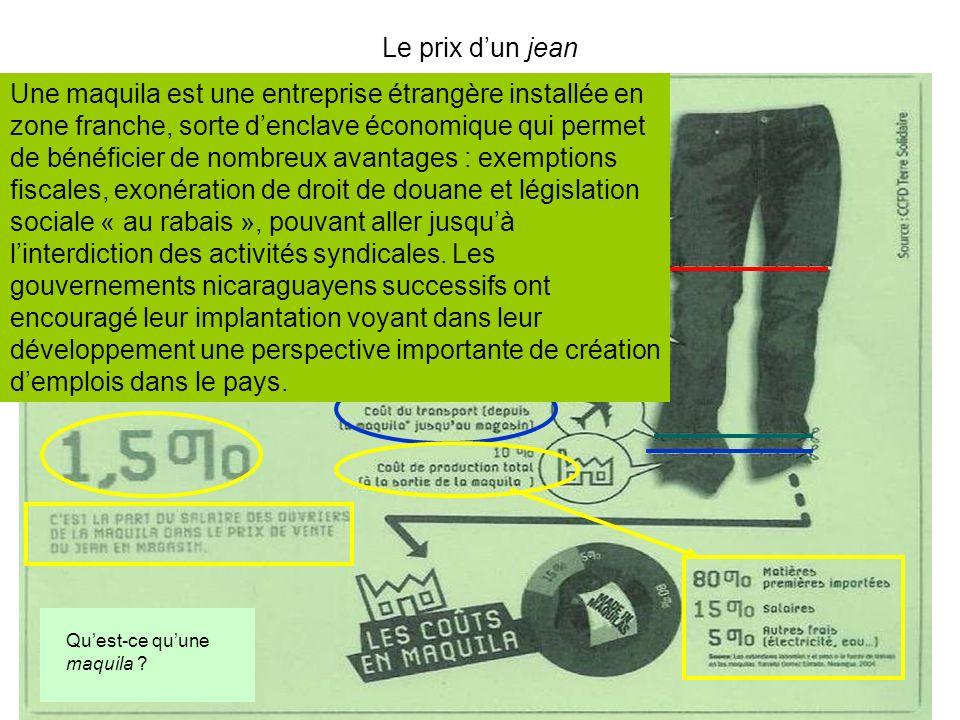 Le prix dun jean Une maquila est une entreprise étrangère installée en zone franche, sorte denclave économique qui permet de bénéficier de nombreux av