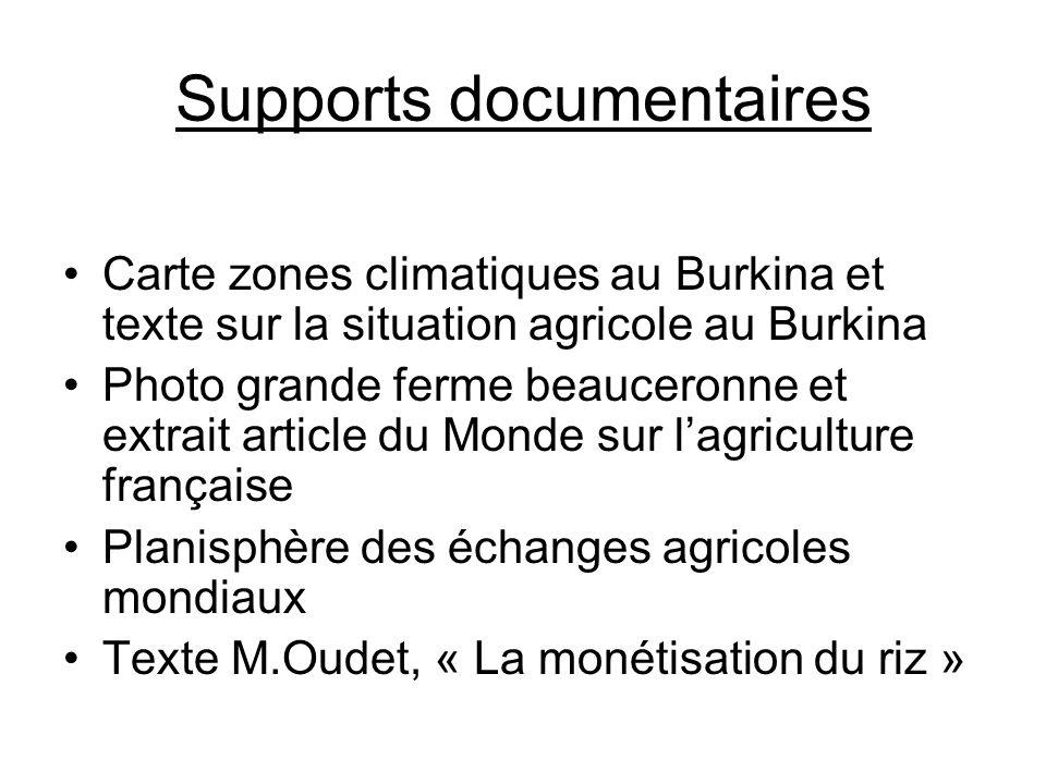 Supports documentaires Carte zones climatiques au Burkina et texte sur la situation agricole au Burkina Photo grande ferme beauceronne et extrait arti