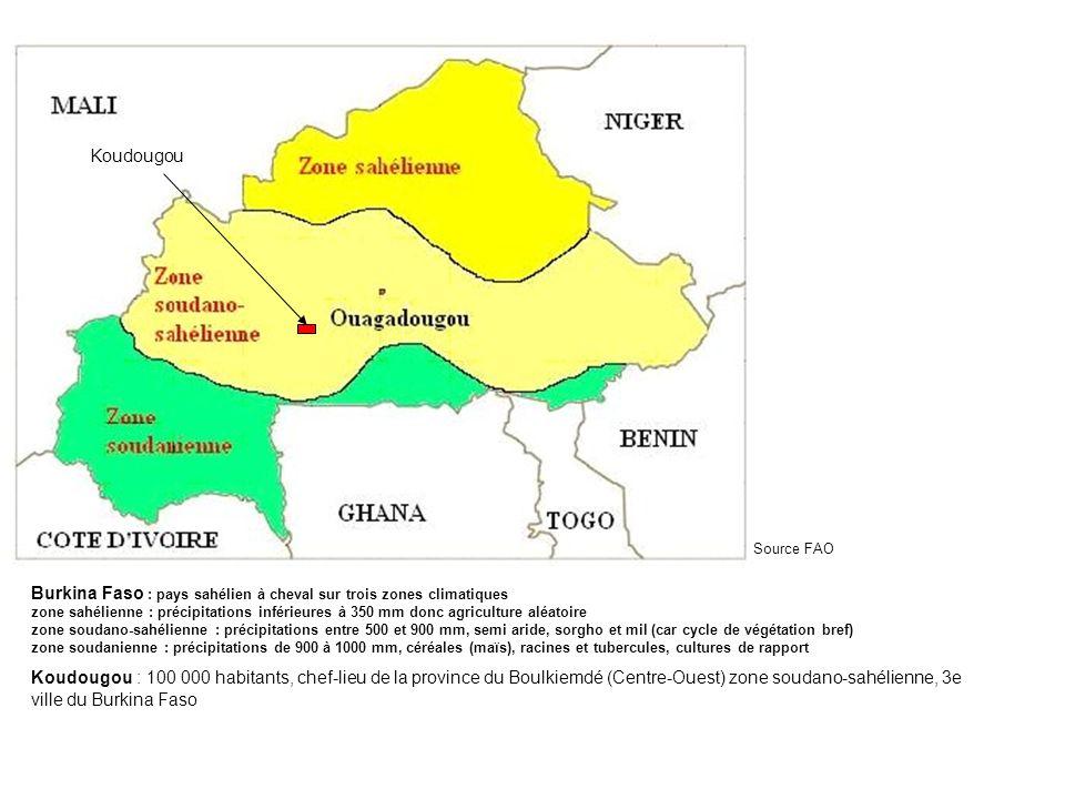 Koudougou Source FAO Burkina Faso : pays sahélien à cheval sur trois zones climatiques zone sahélienne : précipitations inférieures à 350 mm donc agri