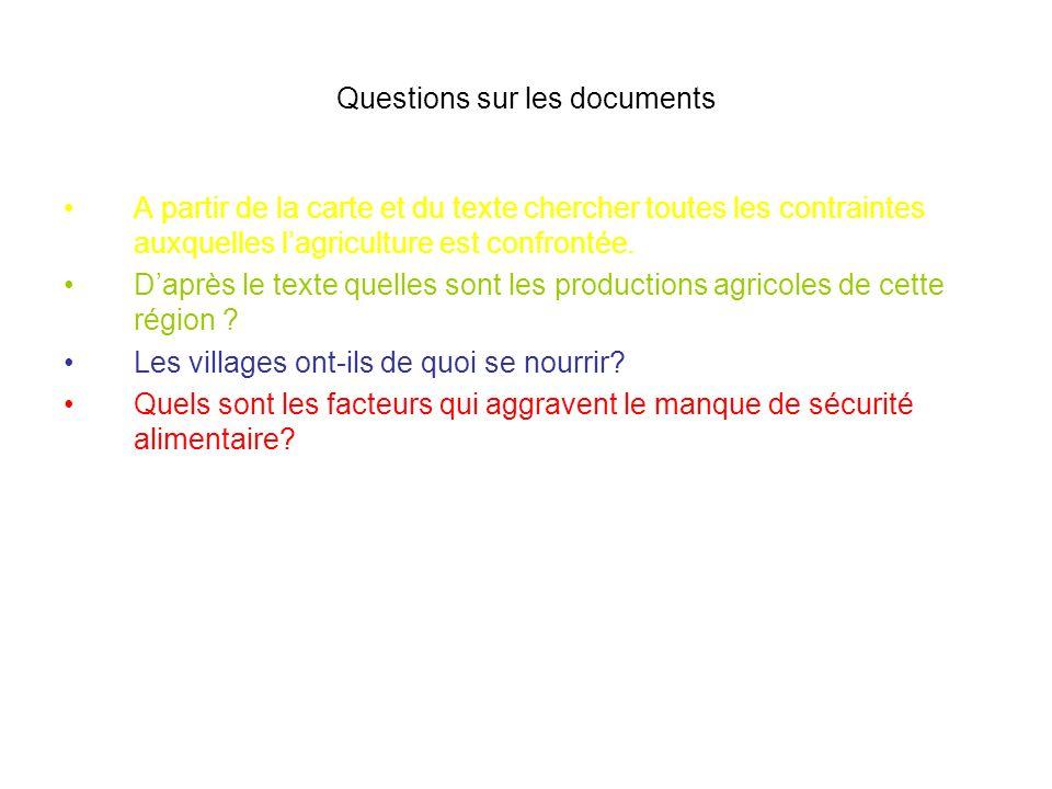 Questions sur les documents A partir de la carte et du texte chercher toutes les contraintes auxquelles lagriculture est confrontée. Daprès le texte q