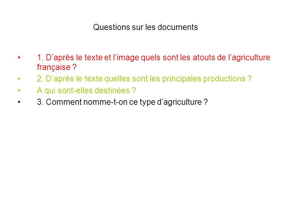 Questions sur les documents 1. Daprès le texte et limage quels sont les atouts de lagriculture française ? 2. Daprès le texte quelles sont les princip