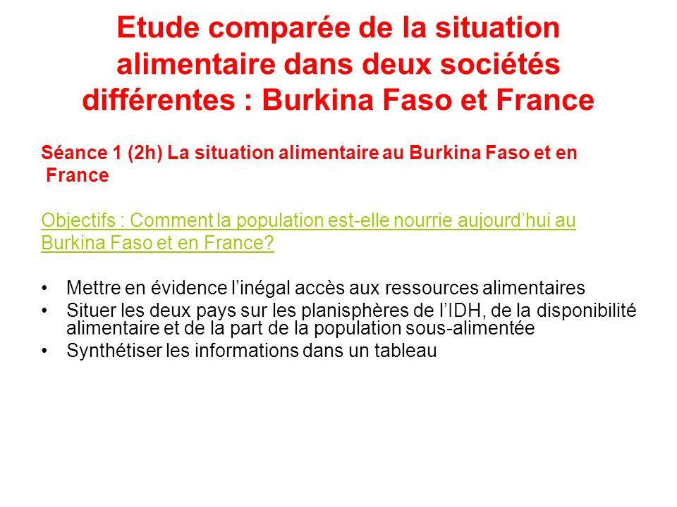 Etude comparée de la situation alimentaire dans deux sociétés différentes : Burkina Faso et France Séance 1 (2h) La situation alimentaire au Burkina F