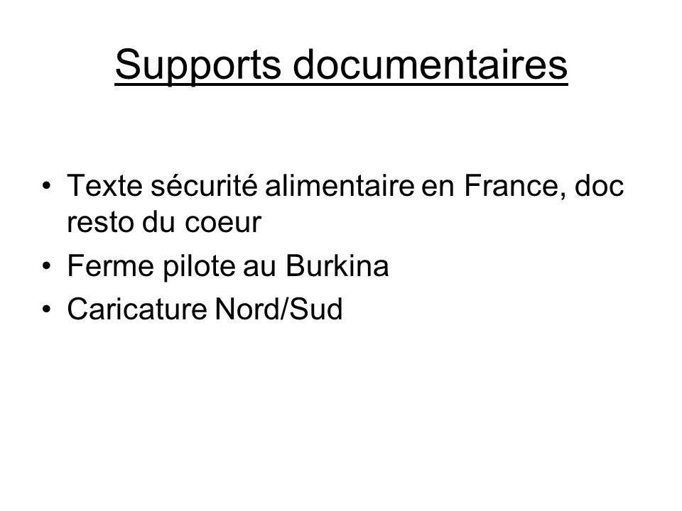 Supports documentaires Texte sécurité alimentaire en France, doc resto du coeur Ferme pilote au Burkina Caricature Nord/Sud