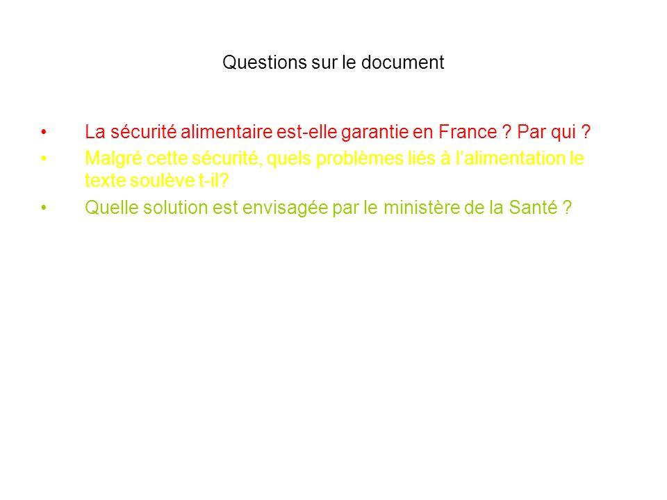 Questions sur le document La sécurité alimentaire est-elle garantie en France ? Par qui ? Malgré cette sécurité, quels problèmes liés à lalimentation