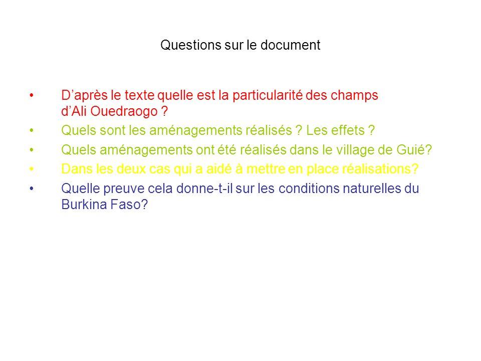 Questions sur le document Daprès le texte quelle est la particularité des champs dAli Ouedraogo ? Quels sont les aménagements réalisés ? Les effets ?