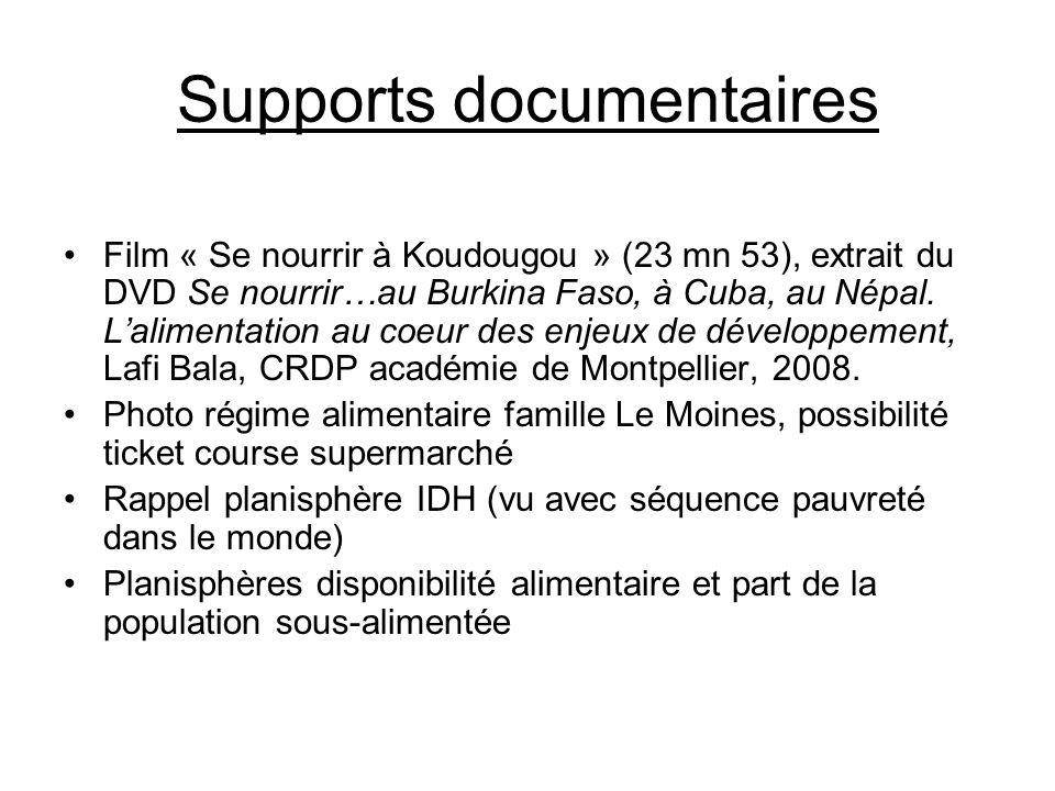 Supports documentaires Film « Se nourrir à Koudougou » (23 mn 53), extrait du DVD Se nourrir…au Burkina Faso, à Cuba, au Népal. Lalimentation au coeur