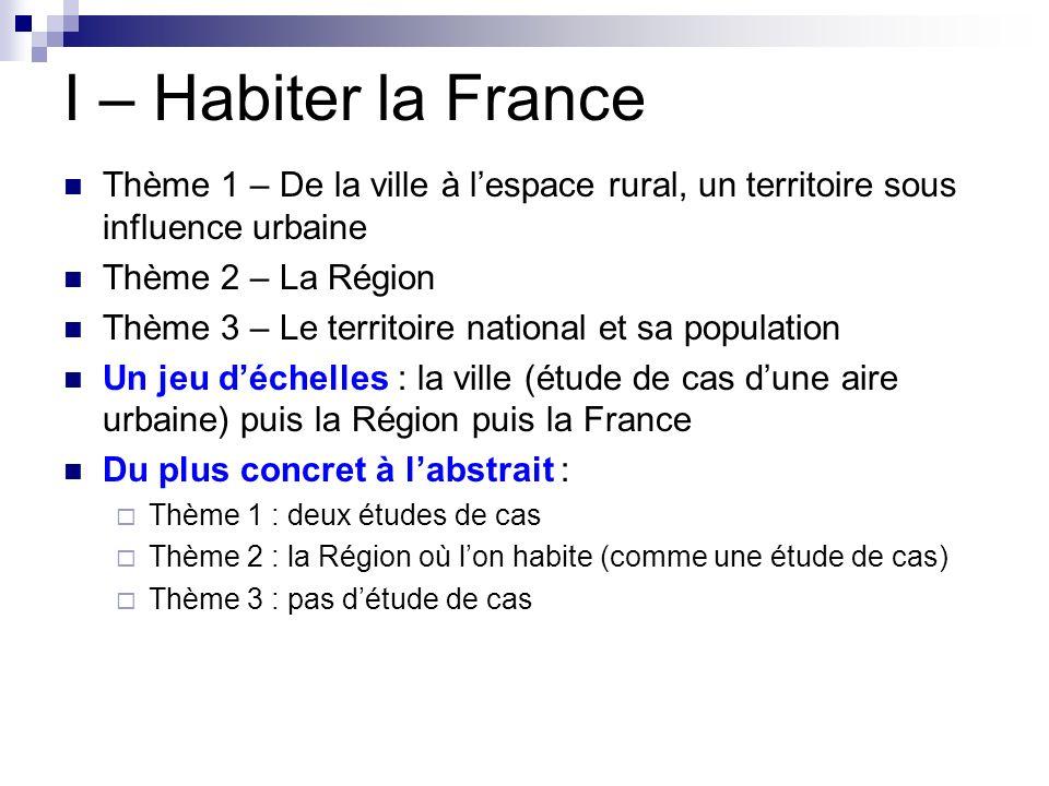 I – Habiter la France Thème 1 – De la ville à lespace rural, un territoire sous influence urbaine Thème 2 – La Région Thème 3 – Le territoire national