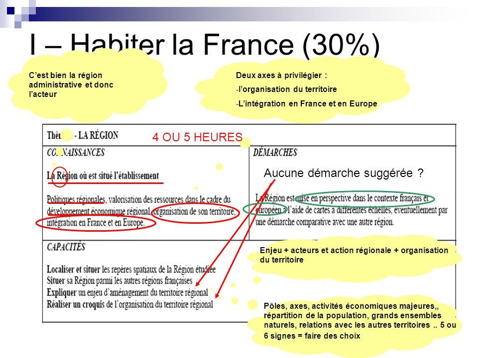 I – Habiter la France (30%) Cest bien la région administrative et donc lacteur Deux axes à privilégier : -lorganisation du territoire -Lintégration en