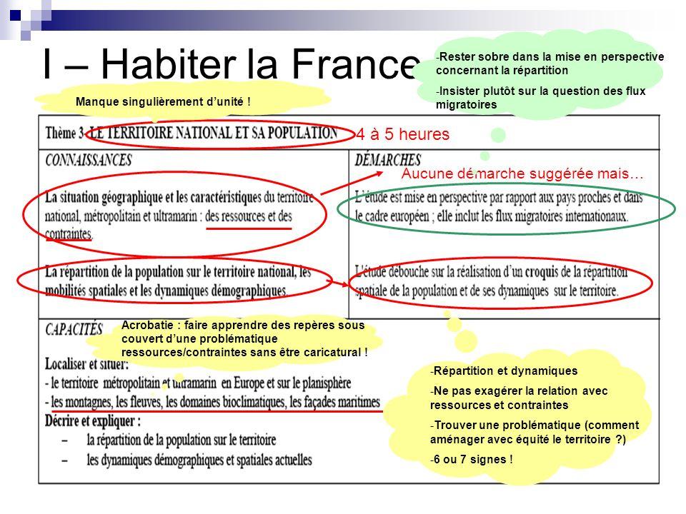 I – Habiter la France (30%) 4 à 5 heures Manque singulièrement dunité ! Aucune démarche suggérée mais… Acrobatie : faire apprendre des repères sous co