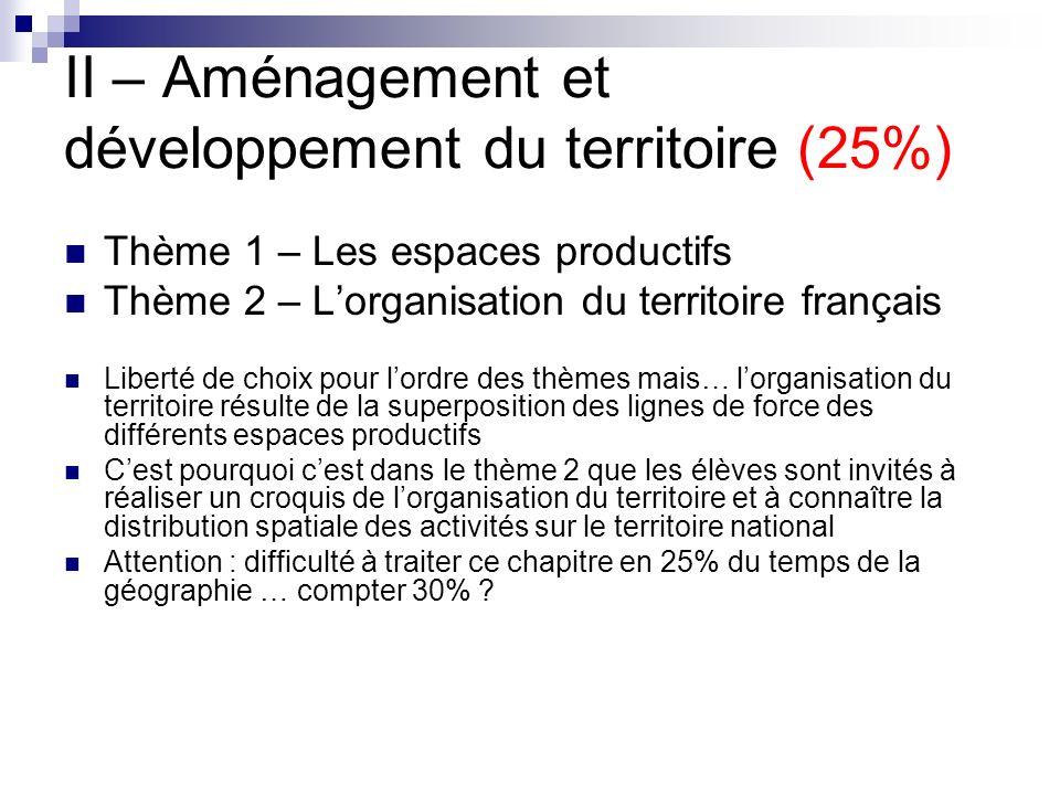 II – Aménagement et développement du territoire (25%) Thème 1 – Les espaces productifs Thème 2 – Lorganisation du territoire français Liberté de choix