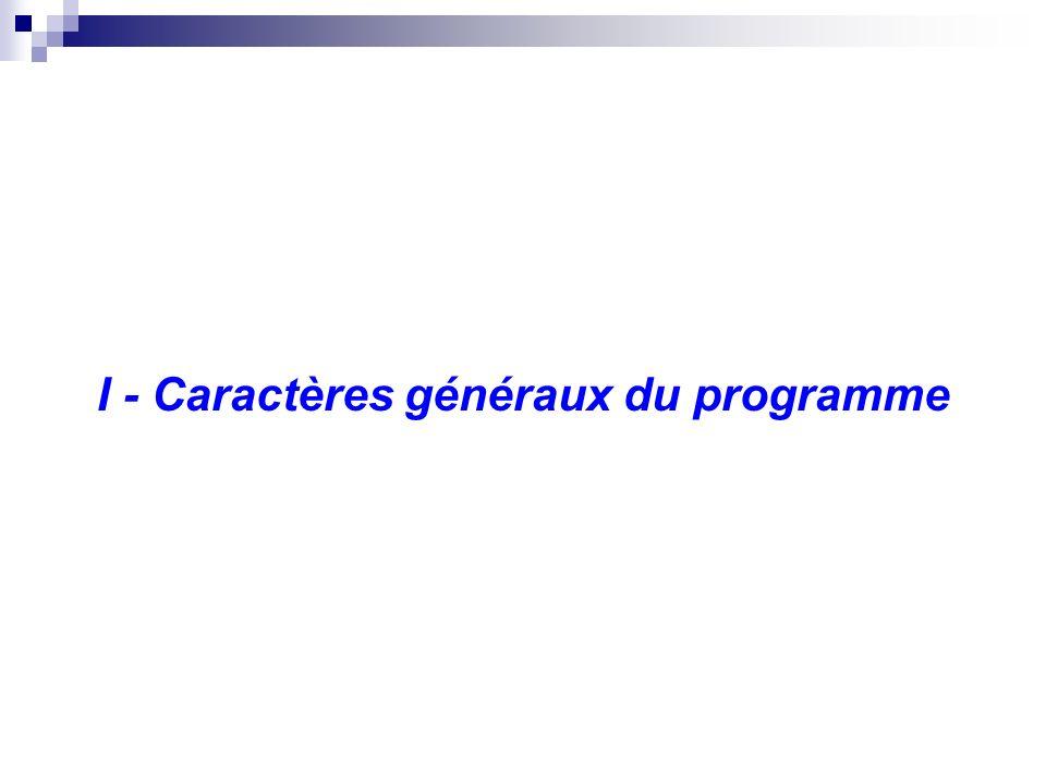 I - Caractères généraux du programme