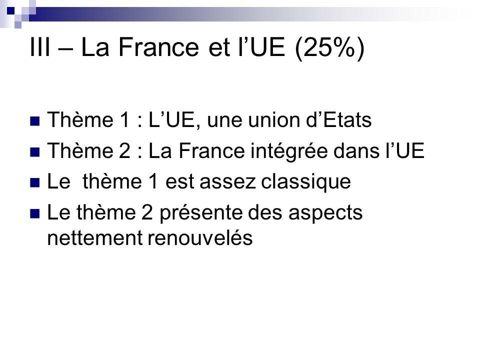III – La France et lUE (25%) Thème 1 : LUE, une union dEtats Thème 2 : La France intégrée dans lUE Le thème 1 est assez classique Le thème 2 présente
