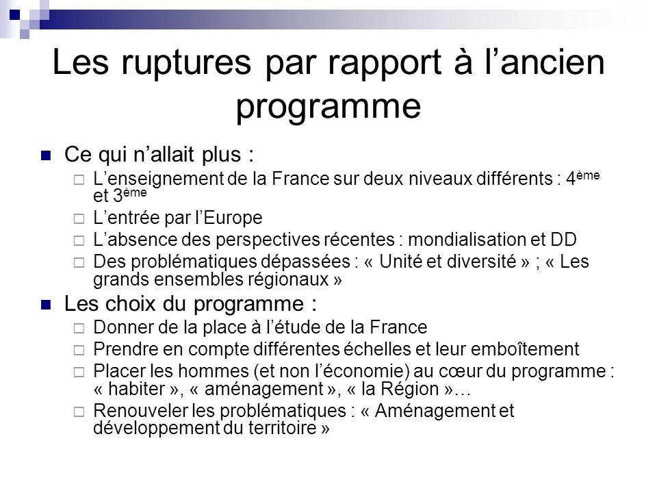 Les ruptures par rapport à lancien programme Ce qui nallait plus : Lenseignement de la France sur deux niveaux différents : 4 ème et 3 ème Lentrée par