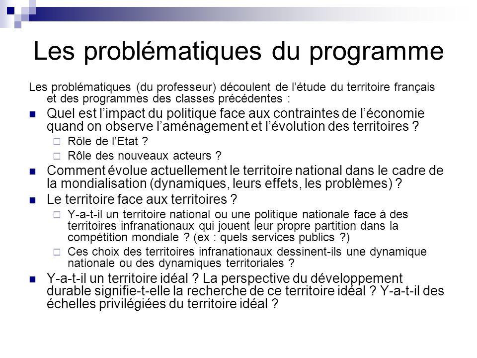 Les problématiques du programme Les problématiques (du professeur) découlent de létude du territoire français et des programmes des classes précédente