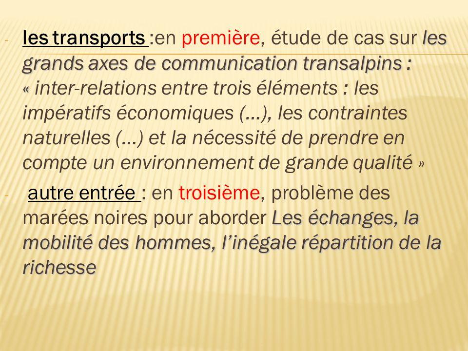 les grands axes de communication transalpins : « - les transports :en première, étude de cas sur les grands axes de communication transalpins : « inte