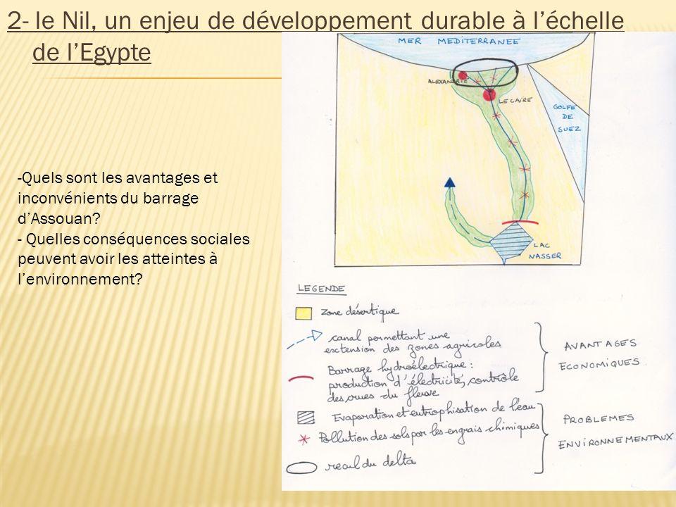 2- le Nil, un enjeu de développement durable à léchelle de lEgypte -Quels sont les avantages et inconvénients du barrage dAssouan? - Quelles conséquen