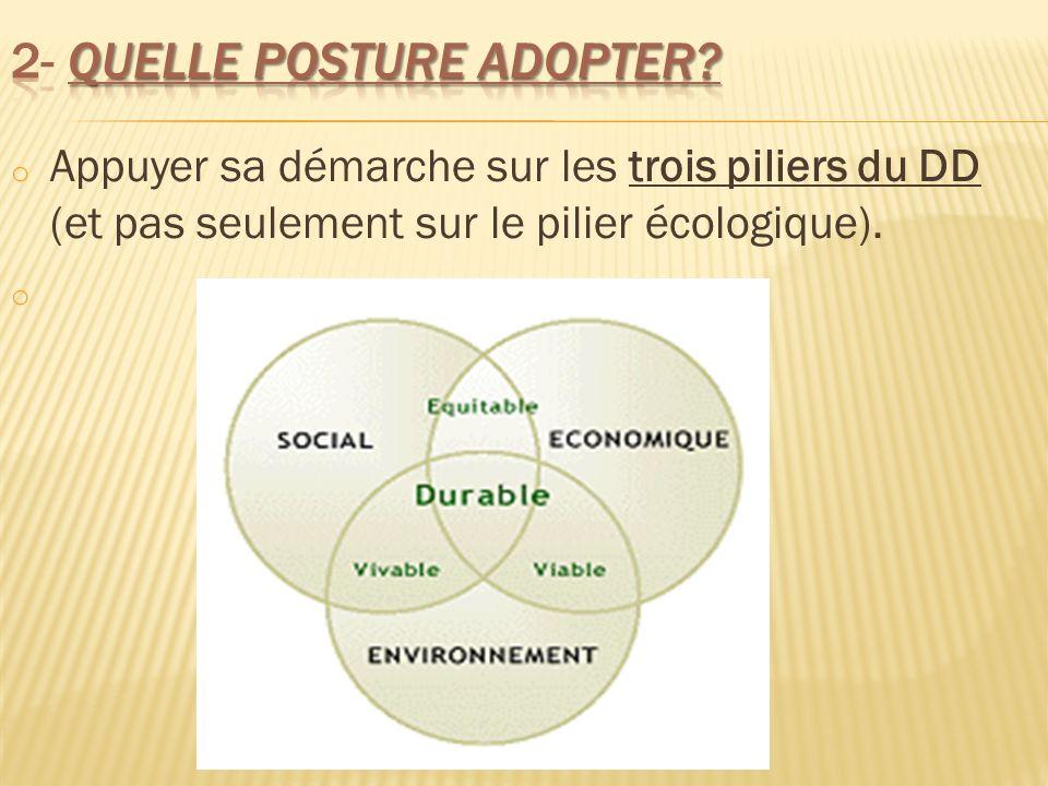 o Appuyer sa démarche sur les trois piliers du DD (et pas seulement sur le pilier écologique). o