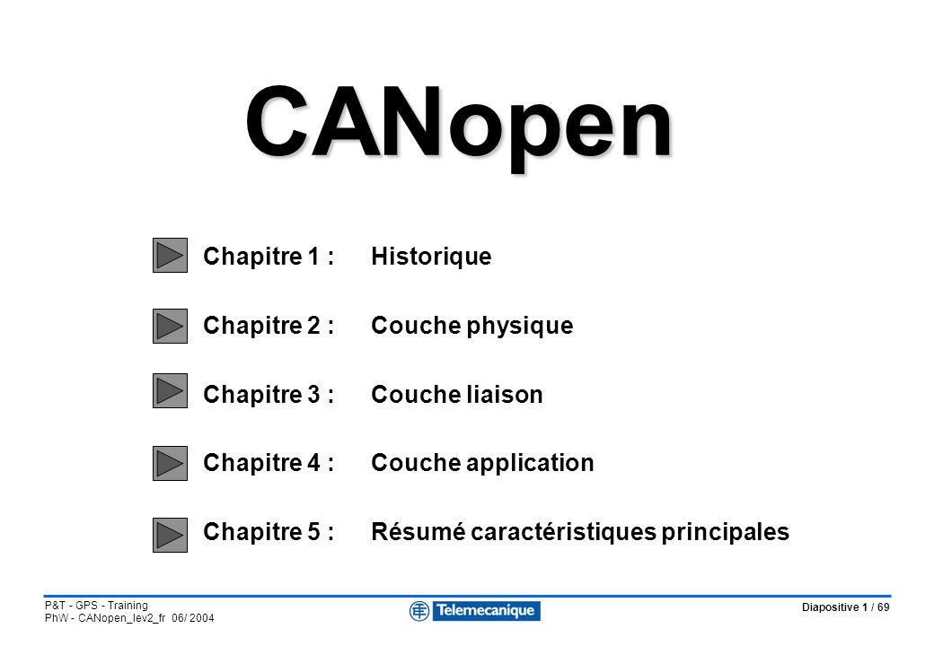 Diapositive 1 / 69 P&T - GPS - Training PhW - CANopen_lev2_fr 06/ 2004 CANopen CANopen Chapitre 1 :Historique Chapitre 2 : Couche physique Chapitre 3