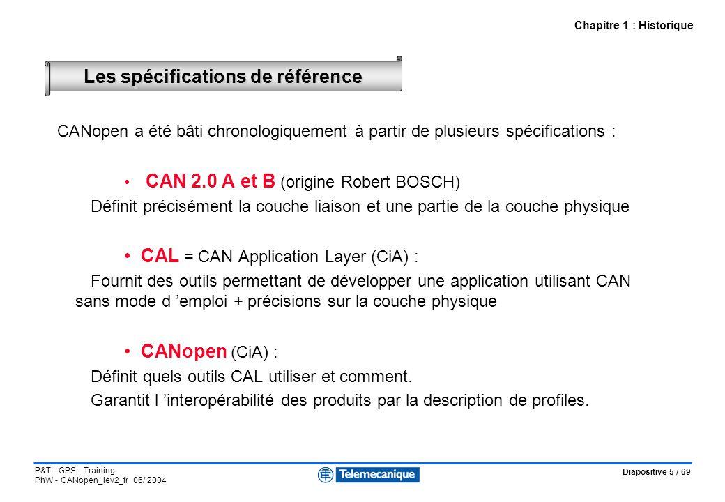 Diapositive 6 / 69 P&T - GPS - Training PhW - CANopen_lev2_fr 06/ 2004 CiA DS-301 = Communication profile Non implémentée CAN 2.0 A et B + ISO 11898 ISO 11898 + DS-102 + DRP-301-1 Device Profile CiA DS-401 I/O modules Device Profile CiA DS-402 Drives Device Profile CiA DS-404 Measuring devices Device Profile CiA DS-4xx CAL= CAN Application Layer APPLICATION PRESENTATION SESSION TRANSPORT RESEAU LIAISON = LLC + MAC PHYSIQUE 7 6 5 4 3 2 1 CANopen et le modèle ISO Chapitre 1 : Historique Spécifications CAN