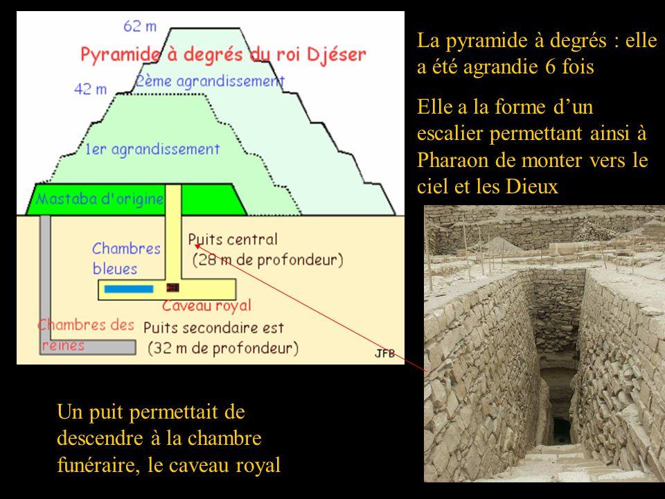 16 La pyramide à degrés : elle a été agrandie 6 fois Elle a la forme dun escalier permettant ainsi à Pharaon de monter vers le ciel et les Dieux Un pu