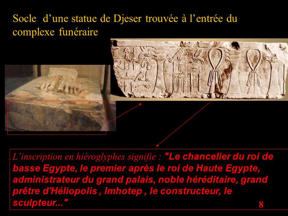 8 Socle dune statue de Djeser trouvée à lentrée du complexe funéraire Linscription en hiéroglyphes signifie :