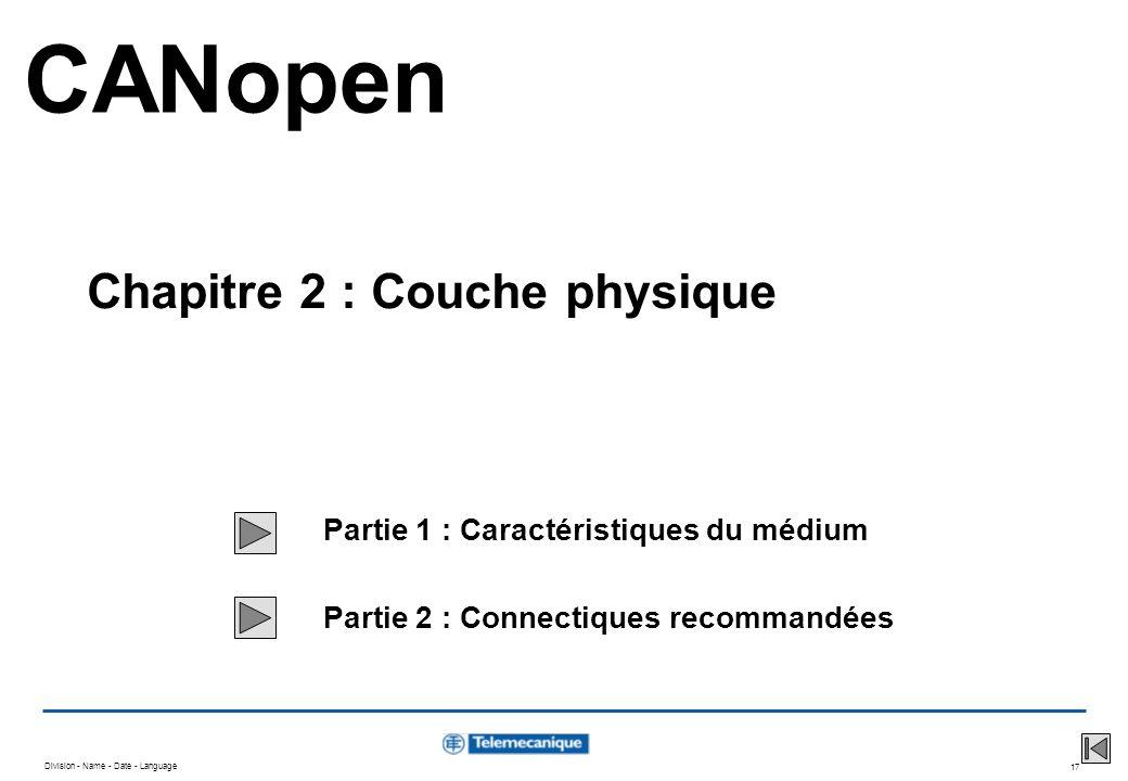 Division - Name - Date - Language 17 Partie 1 : Caractéristiques du médium Partie 2 : Connectiques recommandées CANopen Chapitre 2 : Couche physique