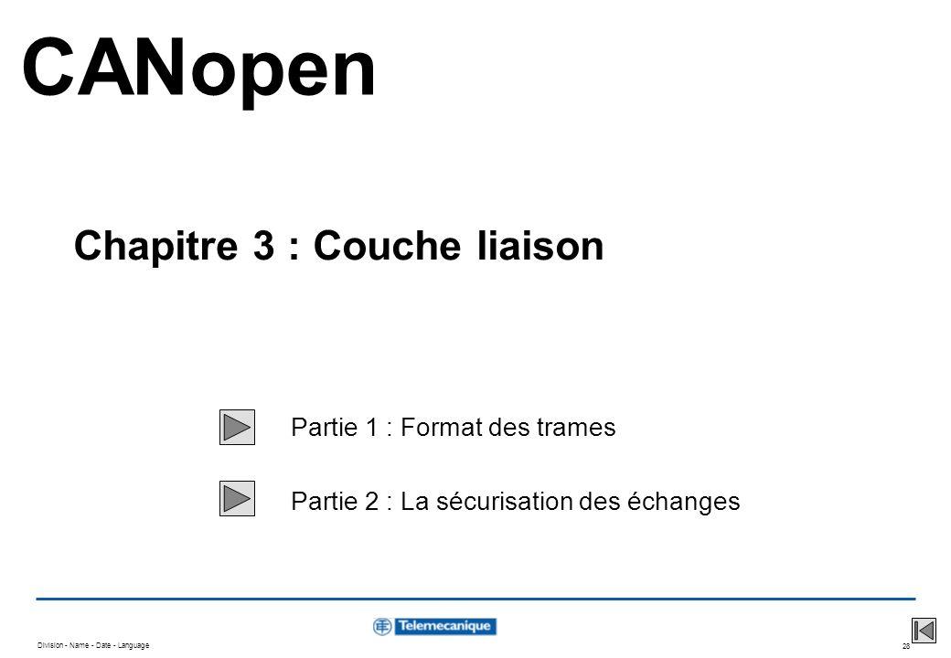 Division - Name - Date - Language 28 Partie 1 : Format des trames Partie 2 : La sécurisation des échanges CANopen Chapitre 3 : Couche liaison