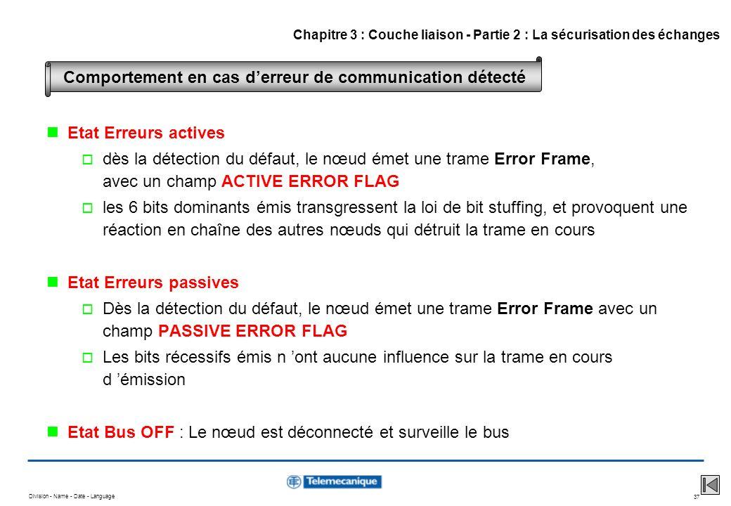 Division - Name - Date - Language 37 Etat Erreurs actives dès la détection du défaut, le nœud émet une trame Error Frame, avec un champ ACTIVE ERROR F