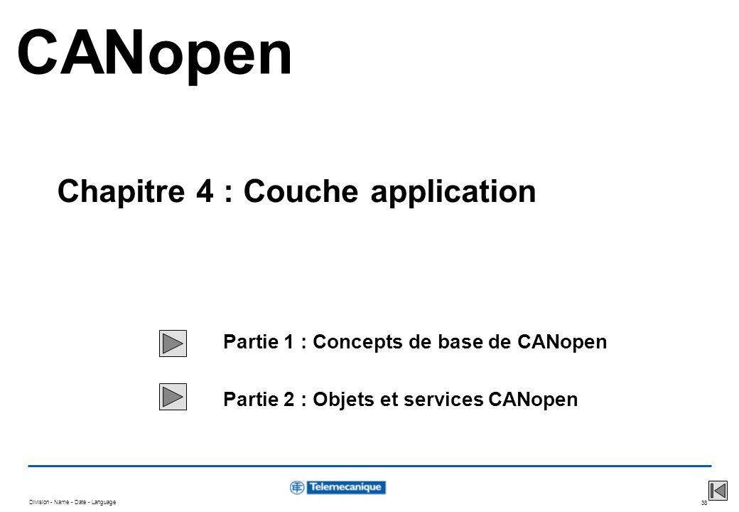 Division - Name - Date - Language 38 Partie 1 : Concepts de base de CANopen Partie 2 : Objets et services CANopen CANopen Chapitre 4 : Couche applicat